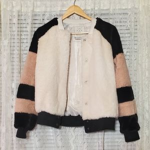 Faux Fur Striped Bomber Jacket